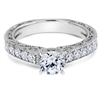Brilliant Morning Star Hand Engraved Micropavé Diamond Engagement Ring F-G VS1-VS2