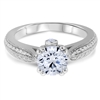 White Fire & Cerulean Splendor Diamond Engagement Ring F-G VS1-VS2