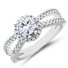 Curved Band Split Shank  Diamond Engagement Ring