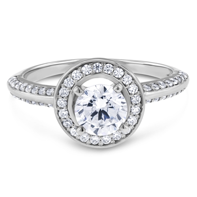 Vintage Floating  Halo Diamond Engagement Ring F-G VS