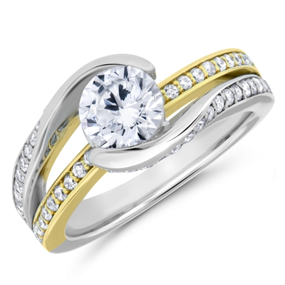 Curved Band Vintage Diamond Engagement Ring F-G VS 0.20 TCW