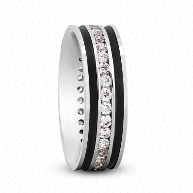 Fancy Diamond Wedding Ring in White Gold 7 mm