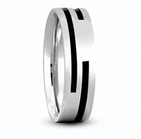 Fancy Carved Wedding Ring in White Gold 7 mm Satin Finish