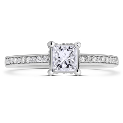Micropave Platinum Princess & Round Cut Diamond Engagement Ring 0.78 ct. tw.