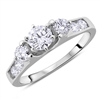 Round Three Stone Diamond Engagement Ring in 14k White Gold 1.09 ct. tw.
