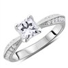 Duo Pave Platinum Princess & Round Diamond Engagement Ring 0.82 ct. tw.