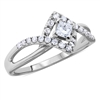 Princess & Round Cut Split-Shank-Twist Diamond Engagement Ring in 14k White Gold 0.42 ct. tw.