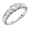 Round Cut Diamond Three Stone Engagement Ring White Gold 0.89 ct. tw.
