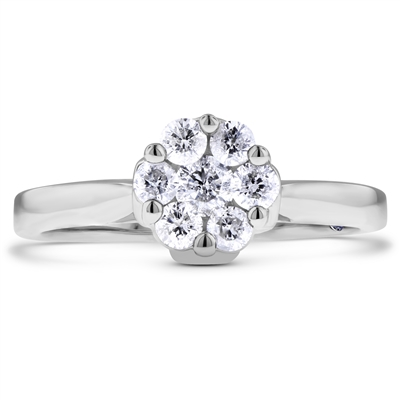 Multiple Round Diamond Engagement Promise Ring in 14k White Gold 2/5 ct. tw.