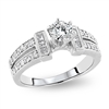 Round Diamond Engagement Ring Split Shank in 14k White Gold 0.95 ct. tw.