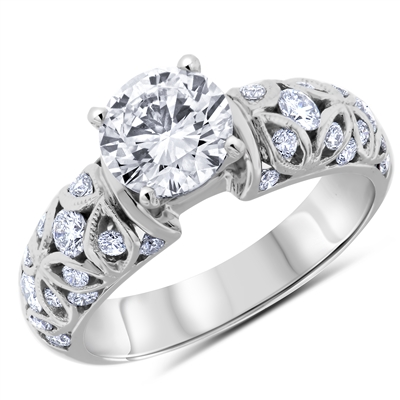 Round Brilliant Diamond Engagement Ring in 14k White Gold 1.39 ct. tw.