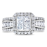 Princess Cut & Round Diamond Engagement Promise Ring  in 14k White Gold 2.00 ct. tw.