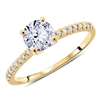 Pave Round Diamond Engagement Ring Classic in 14K Yellow Gold 1.01 ct. tw.