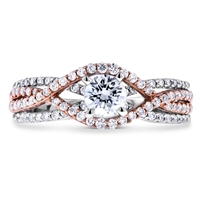Round Diamond Engagement Ring in 14k White/Rose  Gold 0.97 ct. tw.