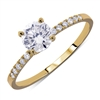Pave Classic 4-Prong Round Diamond Engagement Ring  in 14k Yellow Gold 0.85 ct. tw.