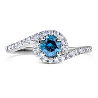Twisted Halo Blue Round Diamond Engagement Ring in 14k White Gold 4/5 ct. tw.