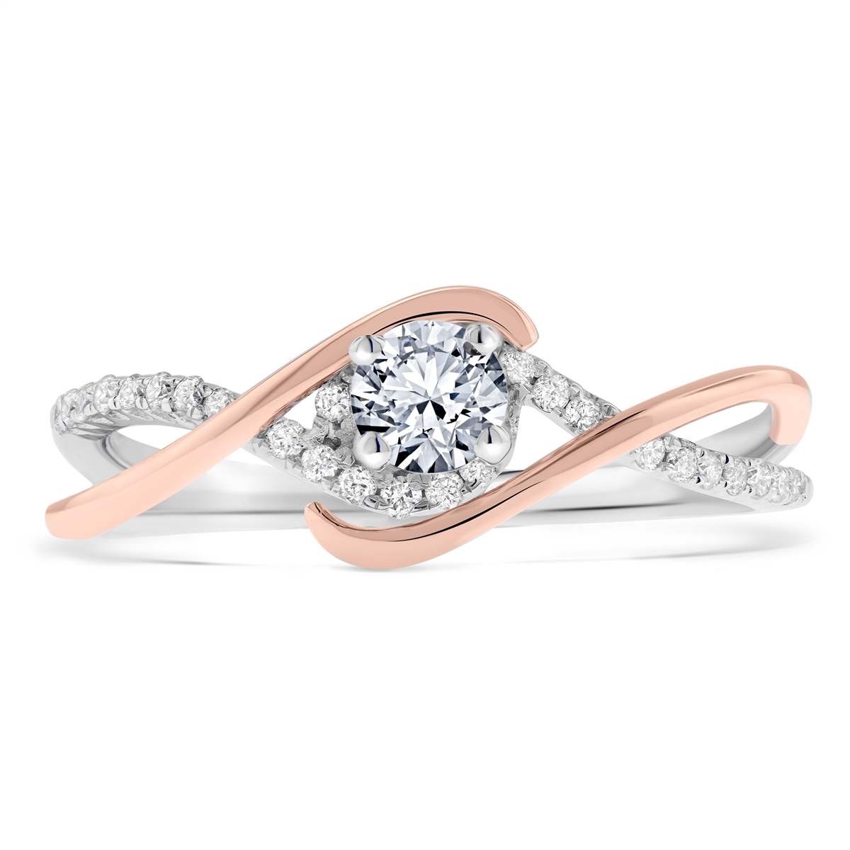 Infinity Twist Round Diamond Petite Engagement Ring In 14k White Rose Two Tone Gold 0 4 Ct Tw