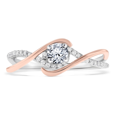 Infinity-Twist Round Diamond Petite Engagement Ring in 14k White-Rose Two-Tone Gold 0.4 ct. tw.