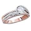 Twisted- Halo Round Diamond Engagement Ring in 14k Rose-White Gold 1.13 ct. tw.