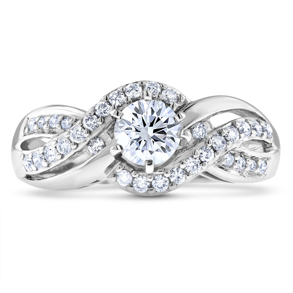 h ring twisted infinity setting i engagement halo in diamond round platinum carat si
