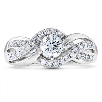 Infinity-Twist-Halo Round Diamond Engagement Ring in 14k White Gold 0.74 ct. tw.