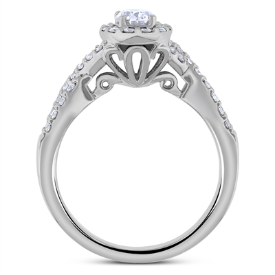 Oval Diamond Engagement Ring Vintage Desing in 14k White Gold 0.86 ct. tw.