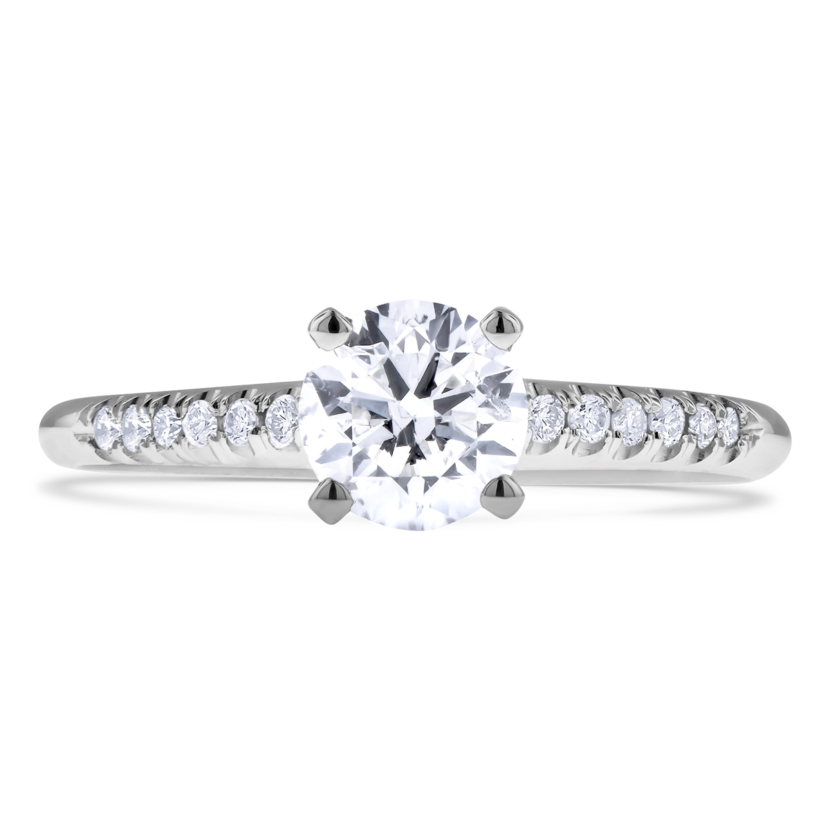 enr gold round four a engagement rings flush set pave band white edge brilliant platinum prong solitaire ring knife in