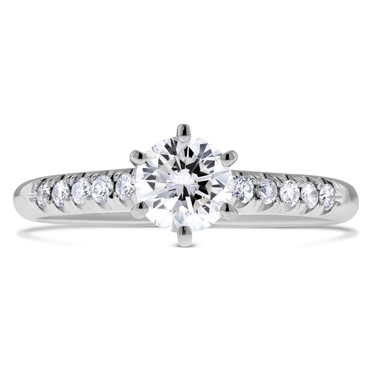 oval tw cut ring rockher classic ct in tapered prong rings engagement shank with diamond platinum white