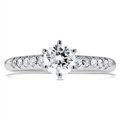 Scalloped Pave Round Diamond Engagement Ring 6-Prongs in 14k White Gold 3/4 ct. tw.