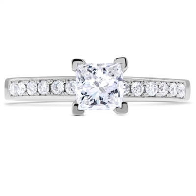 Princess Cut Diamond Engagement Ring in 14k White Gold 0.86 ct. tw.