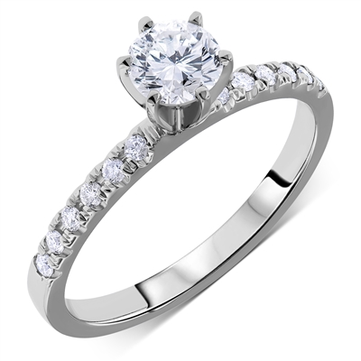 Pave Round Diamond Engagement Ring 6-Prongs in 14k White Gold 0.62 ct. tw.