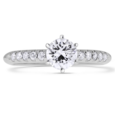 Scalloped Pave Round Diamond Engagement Ring 6-Prongs in 14k White Gold 0.64 ct. tw.