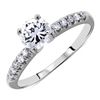 Pave 4-Prongs Round Cut Diamond Engagement Ring in 14k White Gold 0.81 ct. tw.
