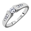 Low-Profile Channel-Set Round Diamond Engagement Ring in 14k White Gold 0.37 ct. tw.