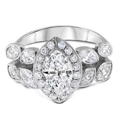 Marquise Brilliant Cut  Diamond Engagement Ring in 18k White Gold 2.33 ct. tw.