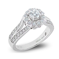 Halo Classic Round Diamond Engagement Ring Split Shank in 14k White Gold 0.96 ct. tw.