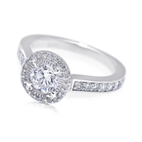 Floating Halo Platinum Bridge Diamond Engagement Ring 1 TCW