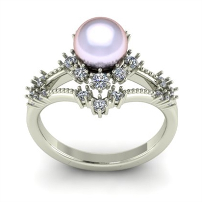 Crown Of Pearl Diamond Engagement Ring