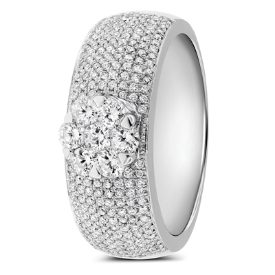 Round Diamond Engagement Promise Wedding Band Ring in 18k White Gold 1.36 ct. tw.