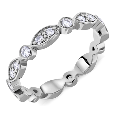 Eternity Ring Round Diamond Wedding Band Round-Marquee-Cluster Setting in 950 Platinum 0.56 ct. tw.