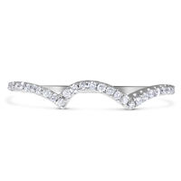 Matching Diamond Wedding Band Round Cut Scalloped Pave in White Gold 14K 1/5 ct. tw.