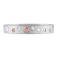 White + Pink Round Diamond Wedding Band Ring in White Gold 18K 0.18 ct. tw.