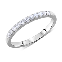 Pave Matching Diamond Wedding Band Anniversary Ring in White Gold 14K 0.22 ct. tw.