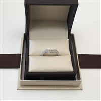 Matching Curved Diamond Wedding Band Vintage Desing Anniversary Ring in White Gold 14K 0.21 ct. tw.