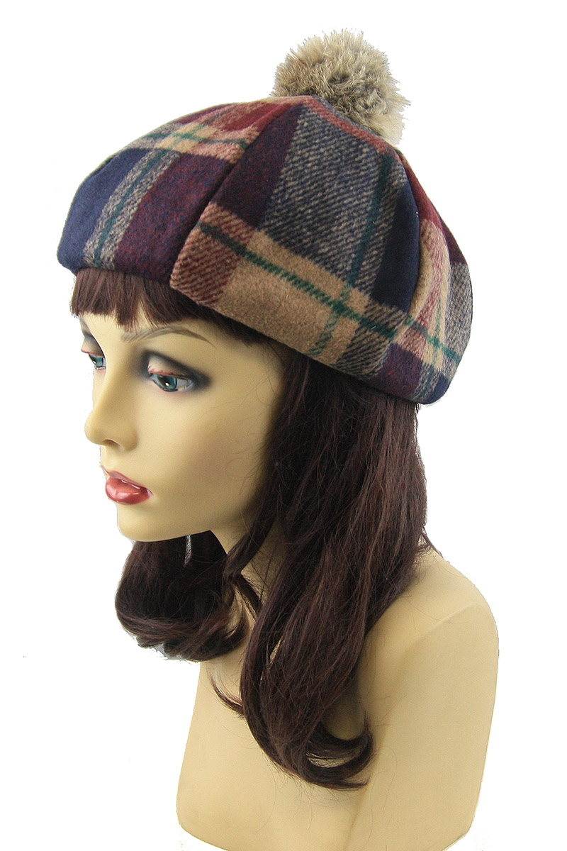 d9f247ebe75 DZ Pack Assorted Color Fur Pompom Plaid Beret Hat