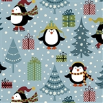Benartex Jolly Penguin and Friends Jolly Penguin Holiday BLUEMULTI 10041-55 Half yard