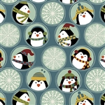 Benartex Jolly Penguin and Friends Penguin Friends and Flakes BLUMULT 10042-55 Half yard