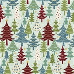 Benartex Jolly Penguin and Friends Festive Trees Turquoise/Multi 10044-84 Half yard