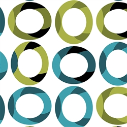 Benartex Fresh Bloom Graphic Ovals White/Green 4456-44 Half yard