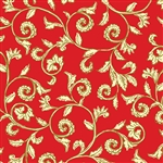 Benartex Noel Scroll Red/Cream 8184M-10 Half yard
